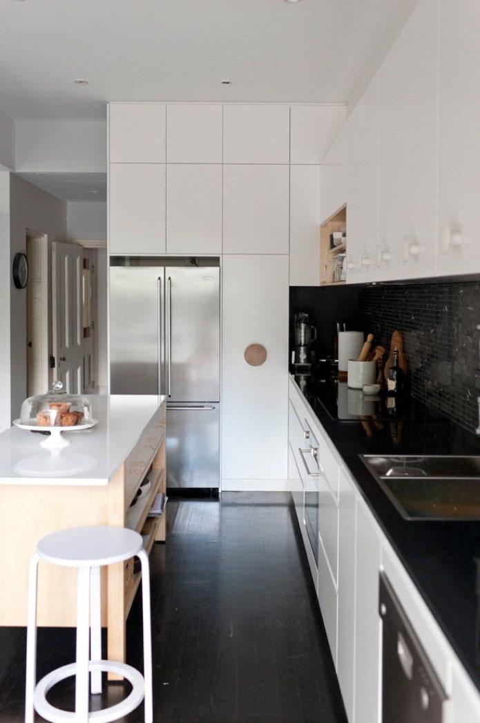 Дизайн белой кухни с черной столешницей: 80 лучших идей, фото в интерьере - 11