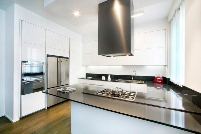 Дизайн белой кухни с черной столешницей: 80 лучших идей, фото в интерьере - 37