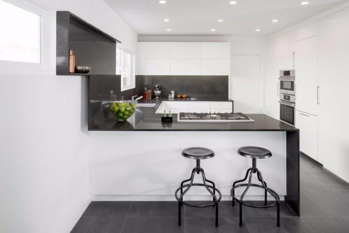 Дизайн белой кухни с черной столешницей: 80 лучших идей, фото в интерьере - 16