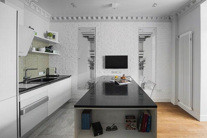 Дизайн белой кухни с черной столешницей: 80 лучших идей, фото в интерьере - 17