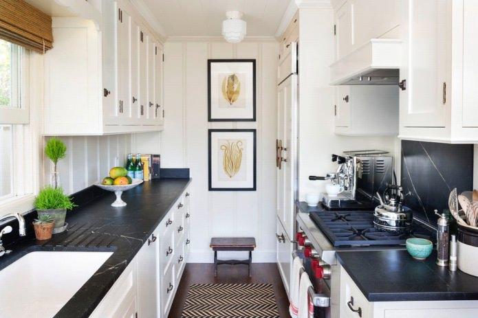 Дизайн белой кухни с черной столешницей: 80 лучших идей, фото в интерьере - 36