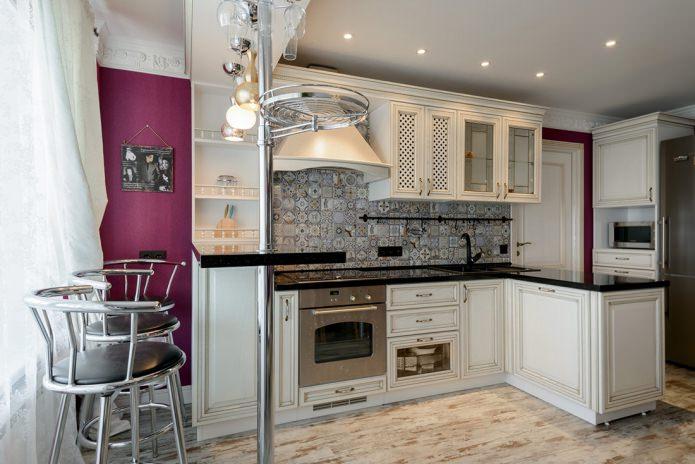 Дизайн белой кухни с черной столешницей: 80 лучших идей, фото в интерьере - 6