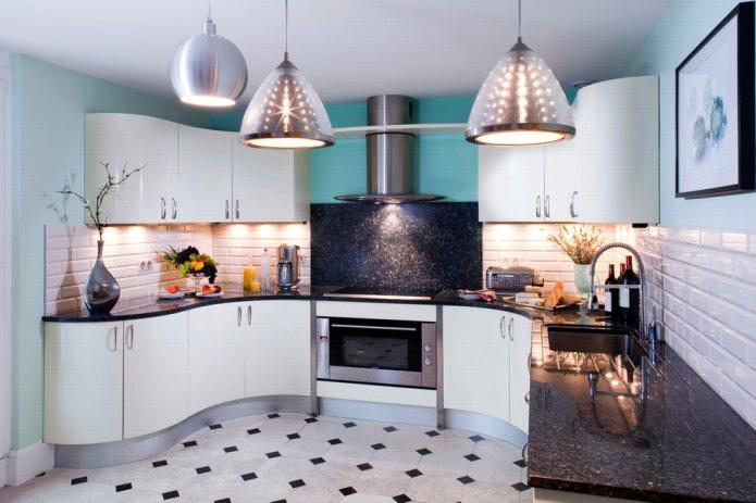 Дизайн белой кухни с черной столешницей: 80 лучших идей, фото в интерьере - 35