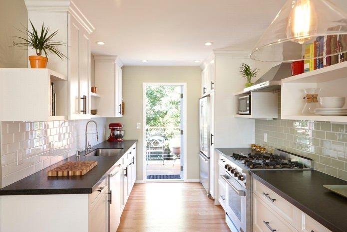 Дизайн белой кухни с черной столешницей: 80 лучших идей, фото в интерьере - 27
