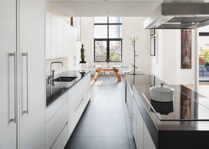 Дизайн белой кухни с черной столешницей: 80 лучших идей, фото в интерьере - 2