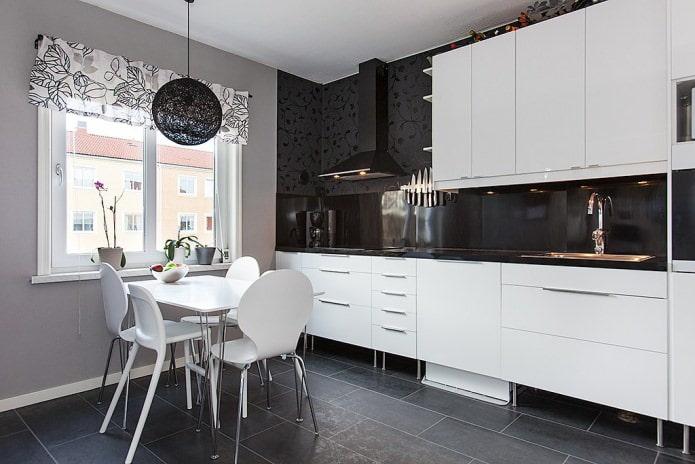 Дизайн белой кухни с черной столешницей: 80 лучших идей, фото в интерьере - 39