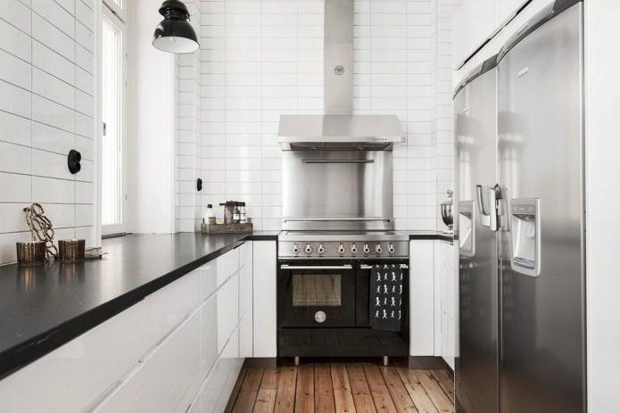 Дизайн белой кухни с черной столешницей: 80 лучших идей, фото в интерьере - 20