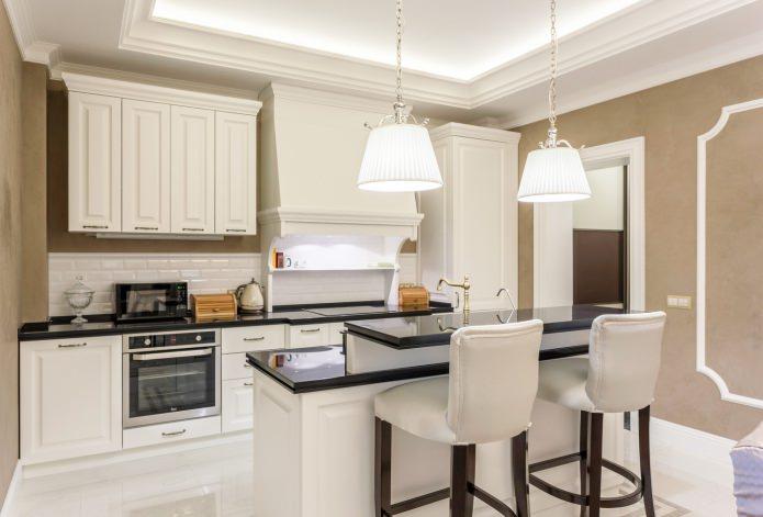 Дизайн белой кухни с черной столешницей: 80 лучших идей, фото в интерьере - 18
