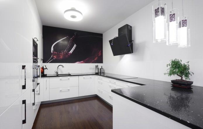 Белая кухня с черной столешницей: 80 современных фото и идей