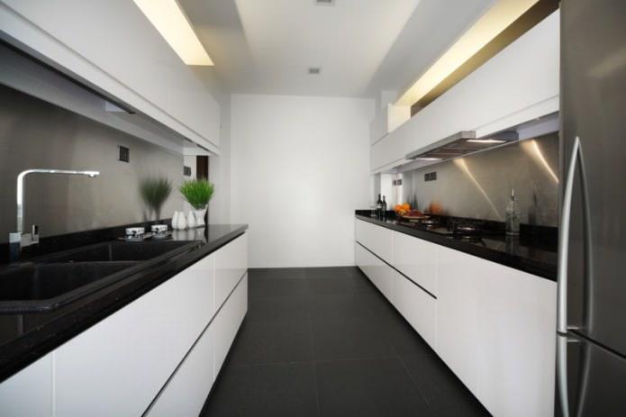 Дизайн белой кухни с черной столешницей: 80 лучших идей, фото в интерьере - 33