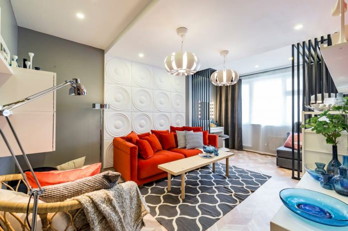 Гипсовые стеновые панели в гостиной