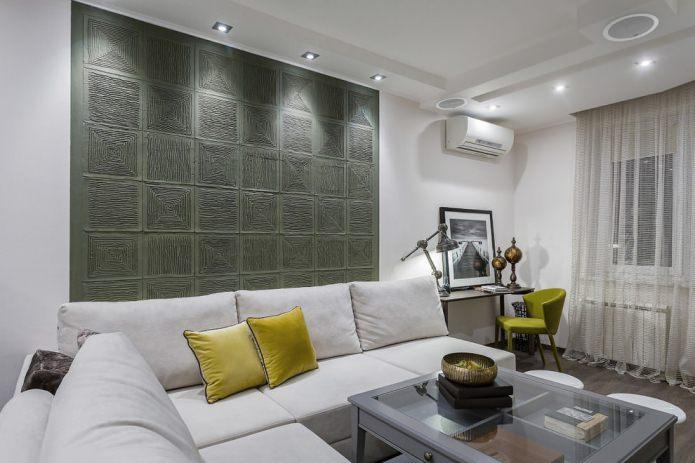 рельефные панели в гостиной