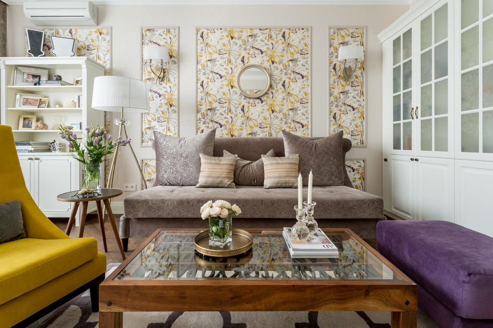 оформление стен обоями в гостиной фото