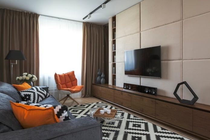 мягкие панели на стене с телевизором