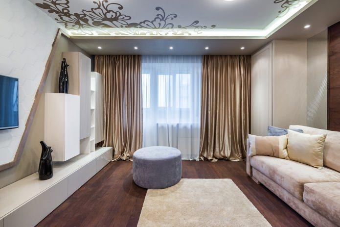 шторы в современном стиле для гостиной