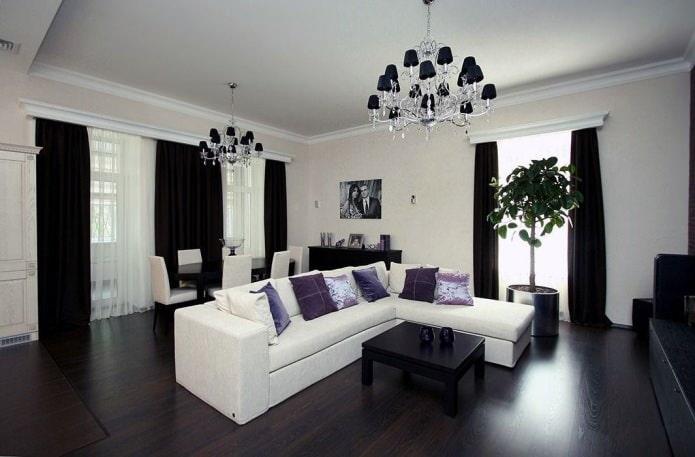 Черные шторы в гостиной