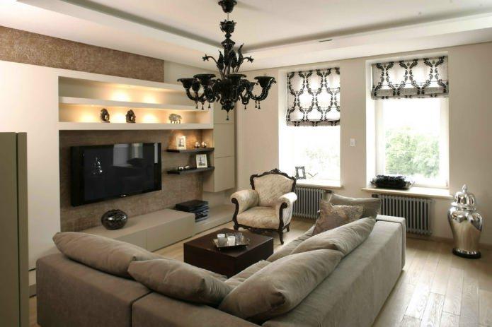 Gecombineerde gordijnen voor de woonkamerfoto
