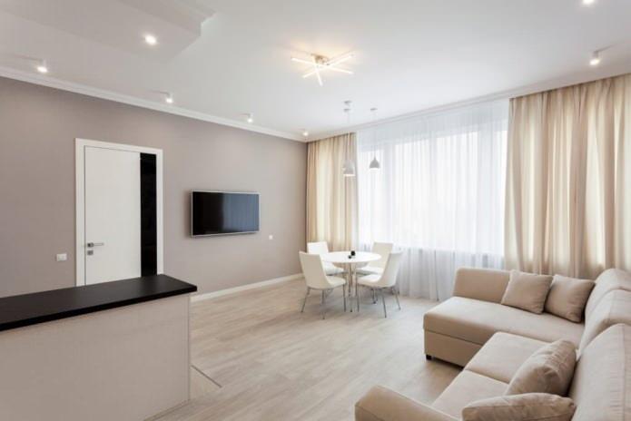 Бело-бежевый интерьер гостиной