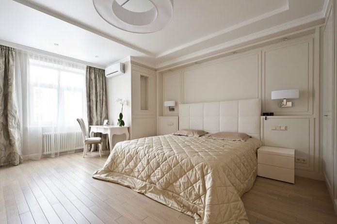 Бежевые стены в спальне