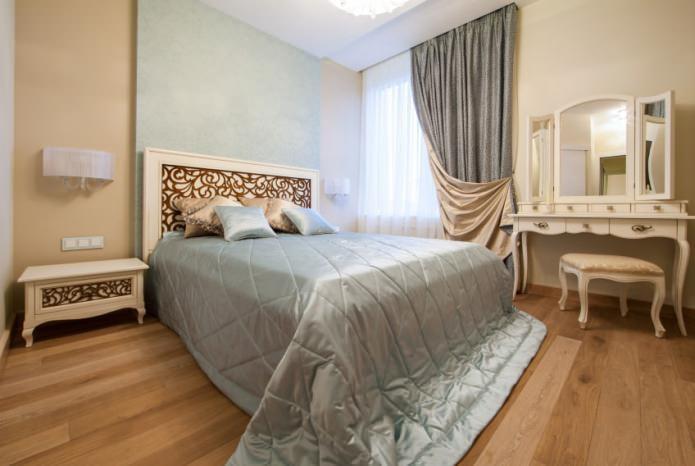 бежевого цвета в интерьере спальни