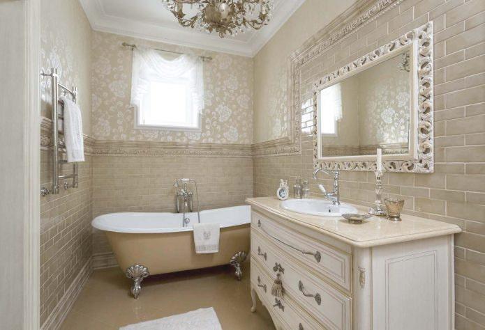 Интерьер ванной в бежевых тонах