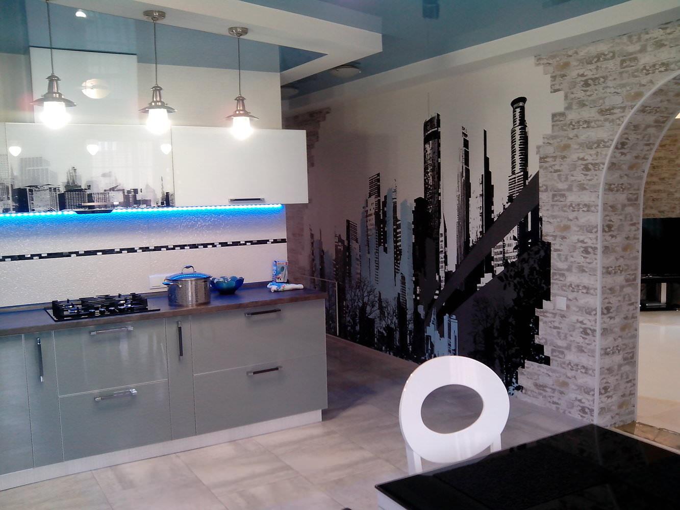 комбинированные обои для кухни в интерьере фото