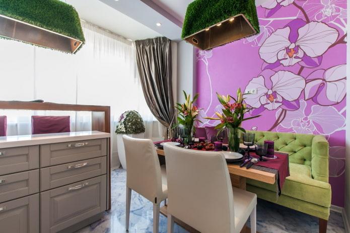 сиреневые фотообои с цветами