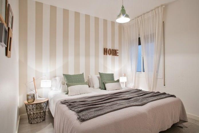 бело-бежево интерьер спальни в современном стиле