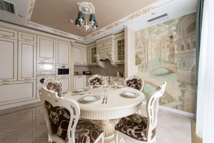 бежевый потолок на кухне в стиле классика