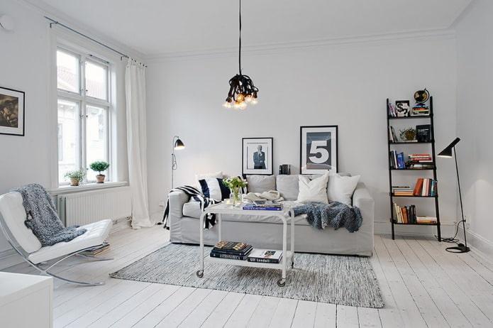 белоснежная гостиная в скандинавском стиле