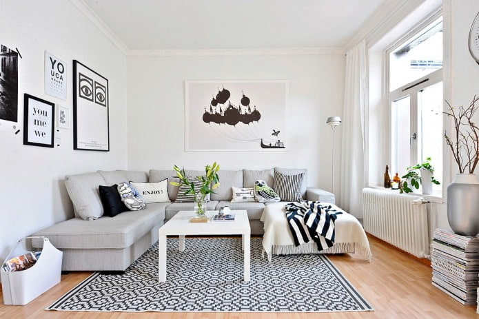 белые стены в гостиной в скандинавском стиле