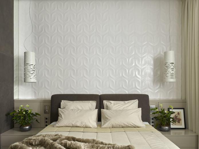 3Д-панели на стене в спальне