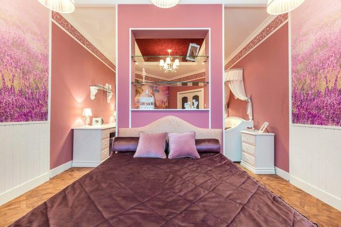 розовые стены в спальне