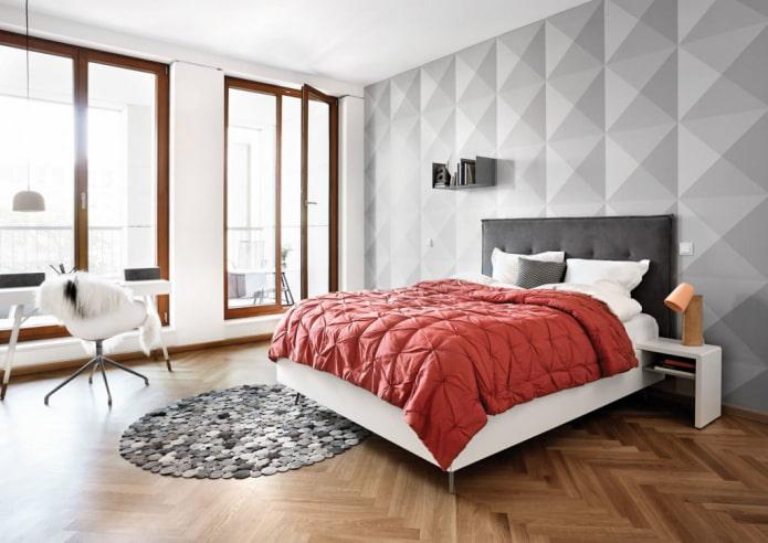 3Д-обои на стене в спальне