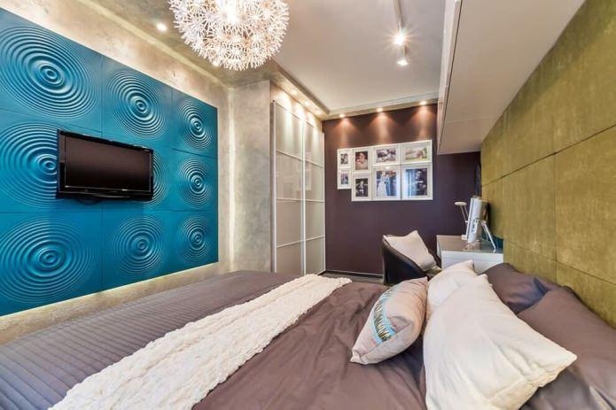 голубые 3Д-панели на стене в спальне