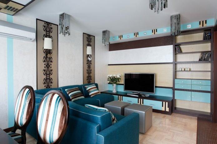 Коричнево-голубой интерьер гостиной
