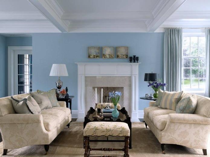 Бежево-голубой интерьер гостиной
