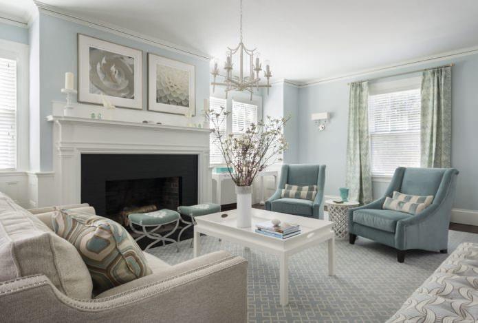 Голубой цвет в интерьере гостиной в классическом стиле