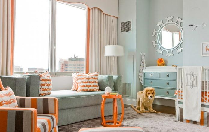 Оранжево-голубой интерьер детской в современном стиле