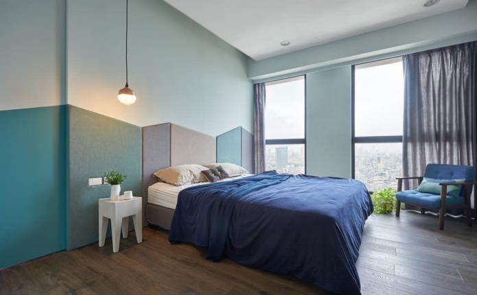 современная спальня в голубых тонах