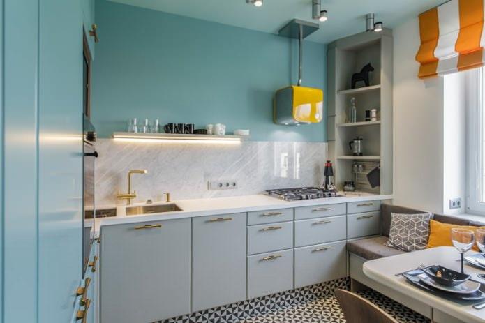 Серо-голубой цвет в интерьере кухни