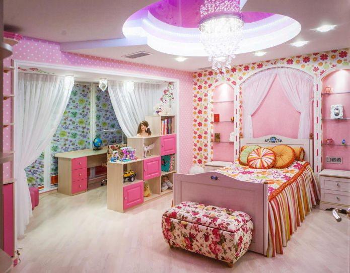 натяжной потолок в интерьере детской для девочки