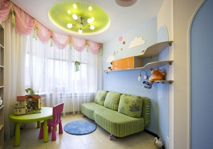 Натяжной потолок в детскую: виды, особенности, освещение, 60 фото в интерьере