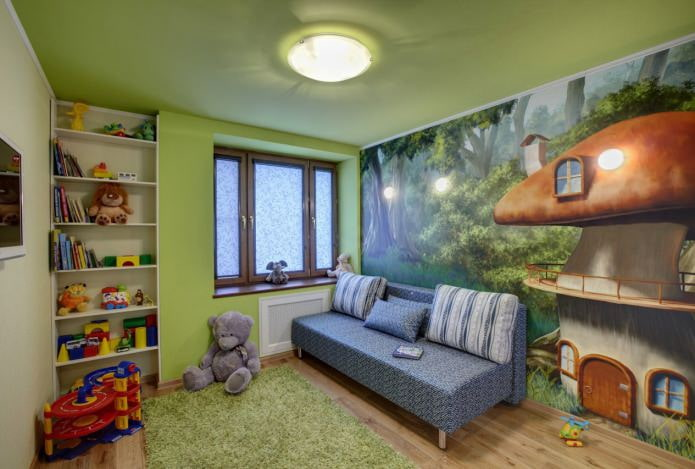 зеленый одноуровневый натяжной потолок в детской комнате