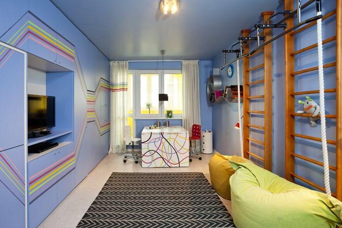 синий одноуровневый натяжной потолок в детской комнате