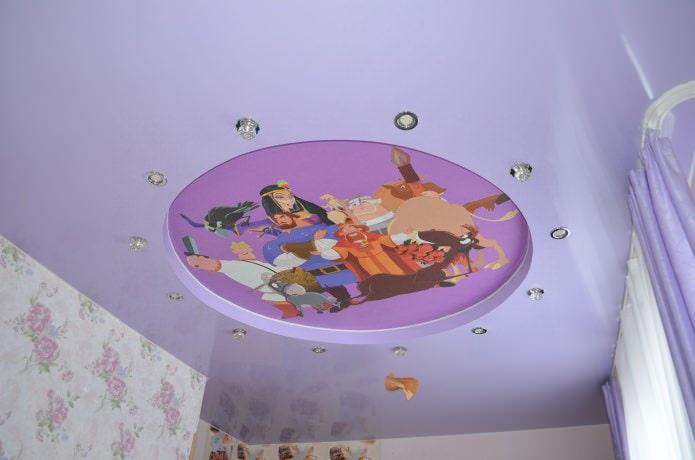 натяжной потолок с фотопечатью в детской комнате