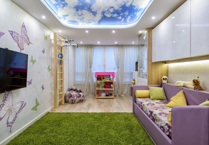 натяжной потолок в детской (небо)