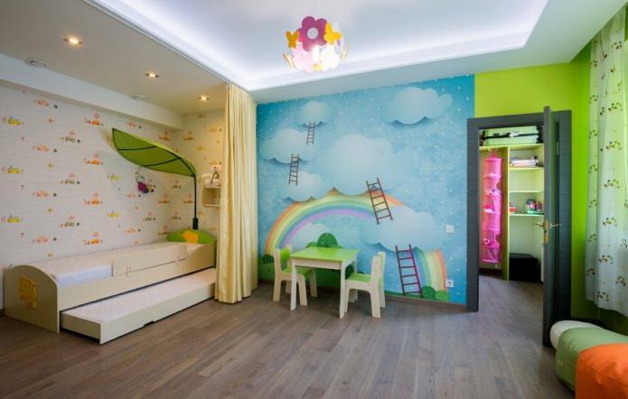 натяжной потолок в детской (освещение)