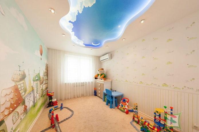 натяжной потолок-облако в детской комнате