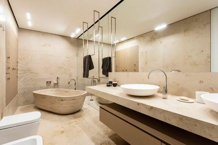 белый матовый натяжной потолок в ванной комнате